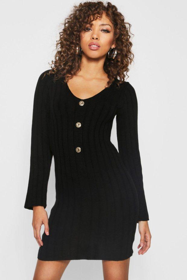 вязаное платье черное с пуговицами