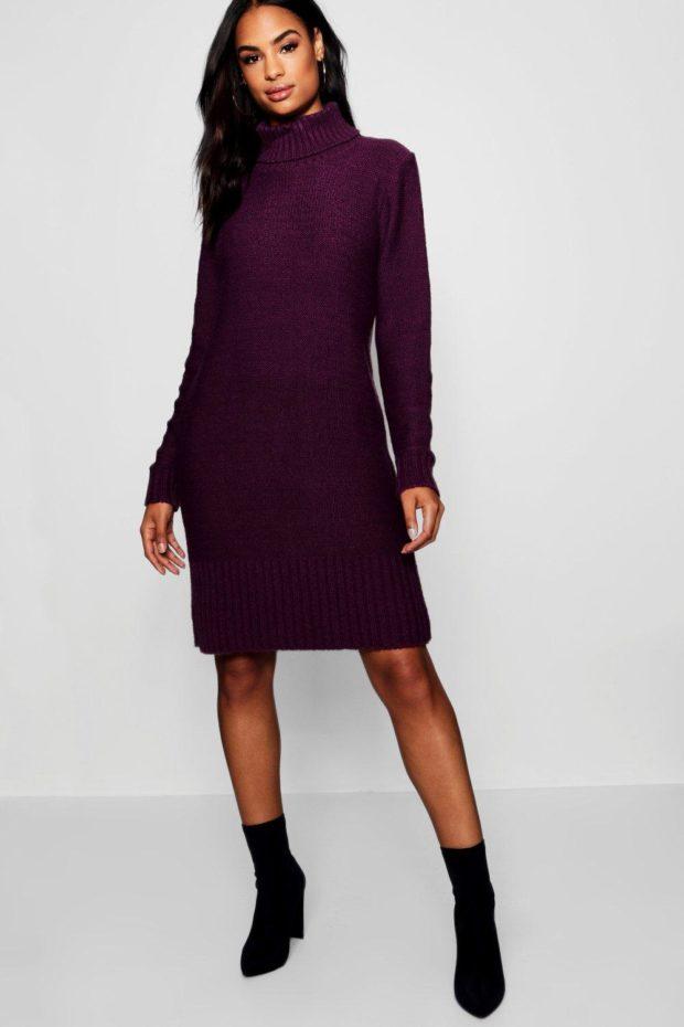 вязаное платье фиолетовое миди