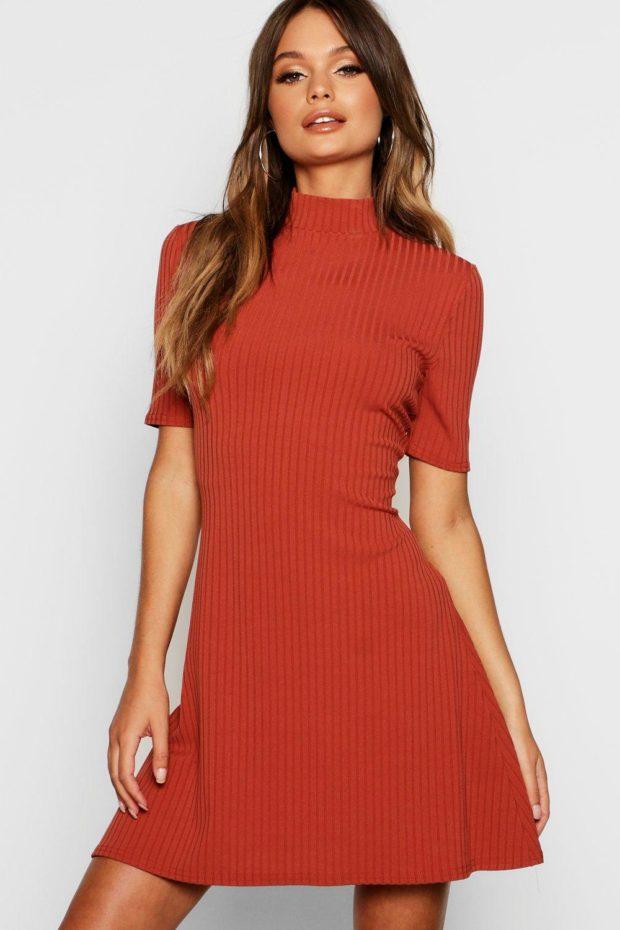 вязаное платье оранжевое