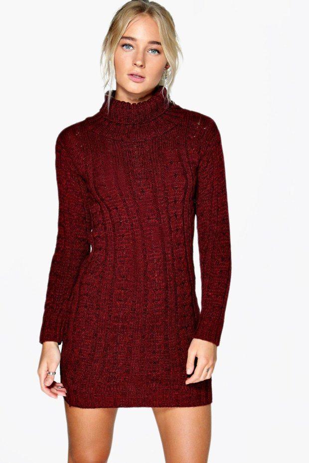 вязаное платье бордовое красная вязка
