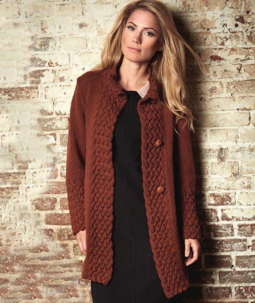 Вязаная мода осень зима 2020 Осенние кардиганы, длинный рукав,средняя вязка, коричневого цвета