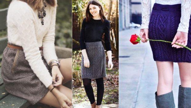 Вязаная мода осень зима 2018 2019 вязанные юбки миди, классика, с узорами, мелкой и крупной вязки
