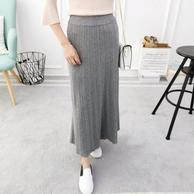 Вязаная мода осень зима 2018 2019 вязанная юбка макси из мелкой вязки, удобная и легкая