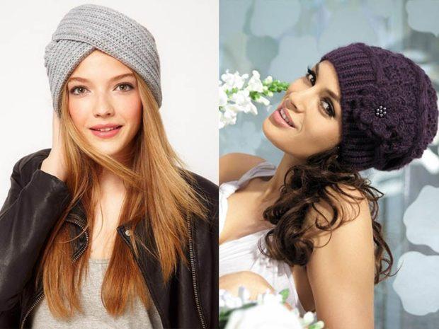 Вязаная мода осень зима 2018 2019 теплые вязанные шапочки, обычной и не обычной формы, серые , бордовые