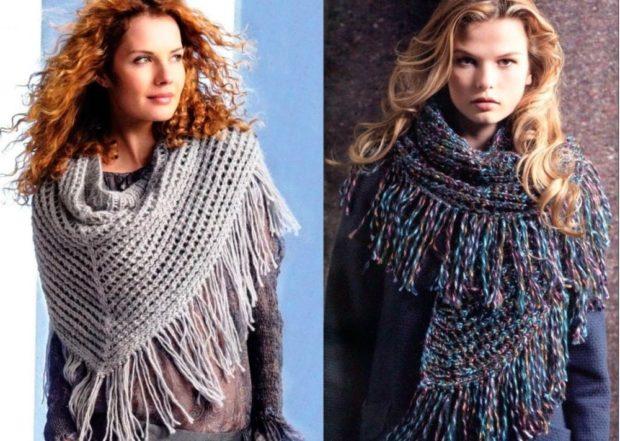Вязаная мода осень зима 2020-2021 шарфы из крупной вязки широкие и длинные,светлый беж,а также разноцветные