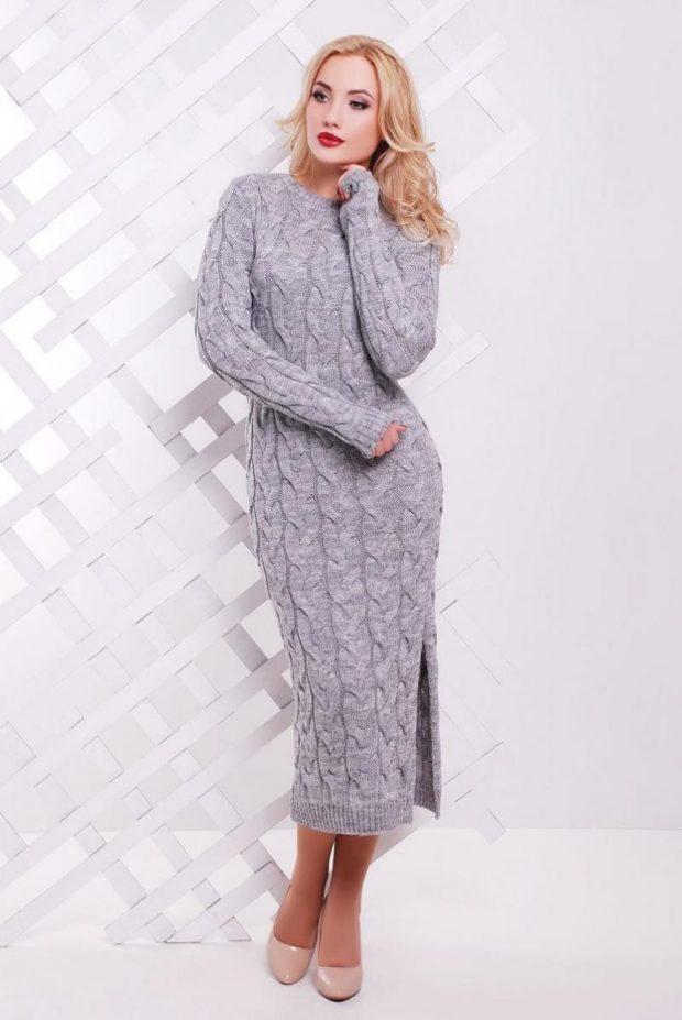 Вязаная мода осень зима 2019 2020 длинные вязаные платья с разрезом и узорами, серое