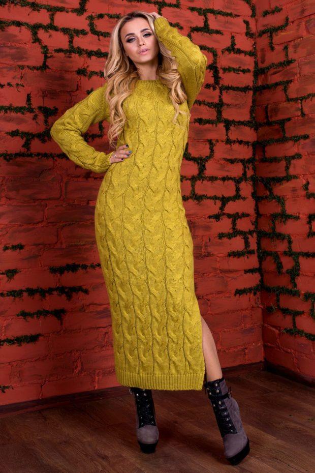"""Вязаная мода осень зима 2019 2020 платье с узором """"косичка"""" длины макси, теплое зимнее платье, темно желтого цвета"""