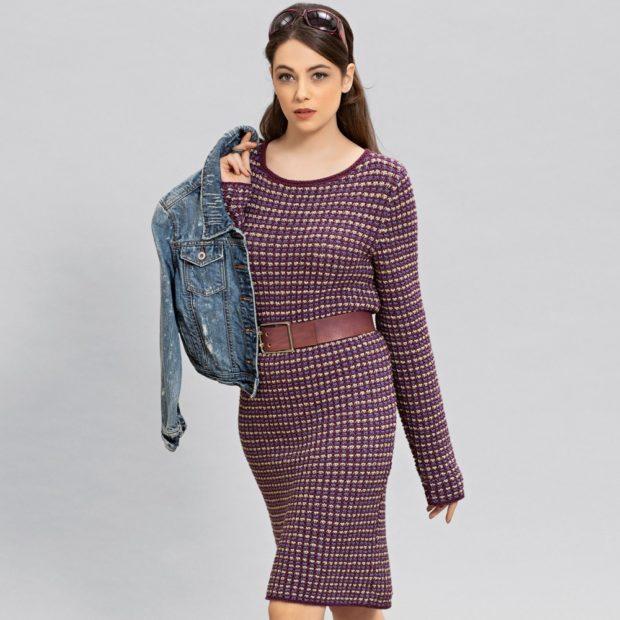 Вязаная мода осень зима 2018 2019 теплое вязаное клетчатое платье средней длины, и интересным дизайном