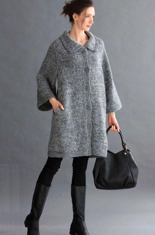 Вязаное пальто осень зима 2019 2020 вязаное пальто,широкий рукав, воротник,серого цвета