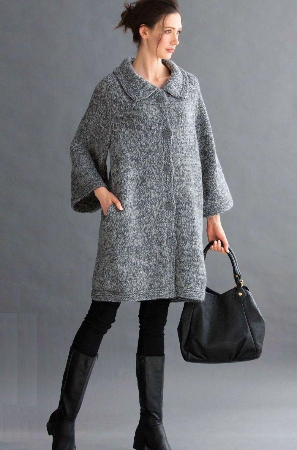 Вязаное пальто осень зима 2018 2019 вязаное пальто,широкий рукав, воротник,серого цвета