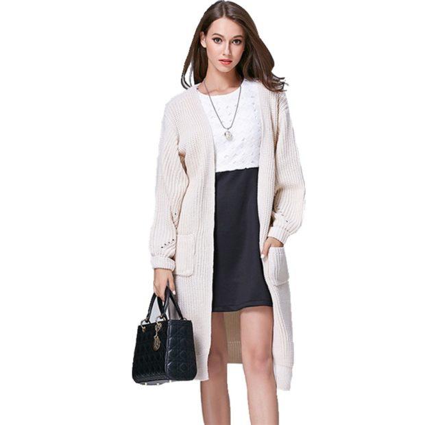 Вязаное пальто осень зима 2020 вязанное осеннее пальто, с длинным рукавом и манжетом на рукавах