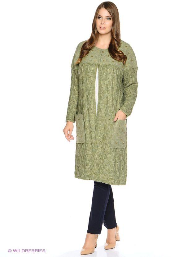 Вязаное пальто осень зима 2019 2020 длинное осеннее вязаное пальто,с красивым узором, и кармашками