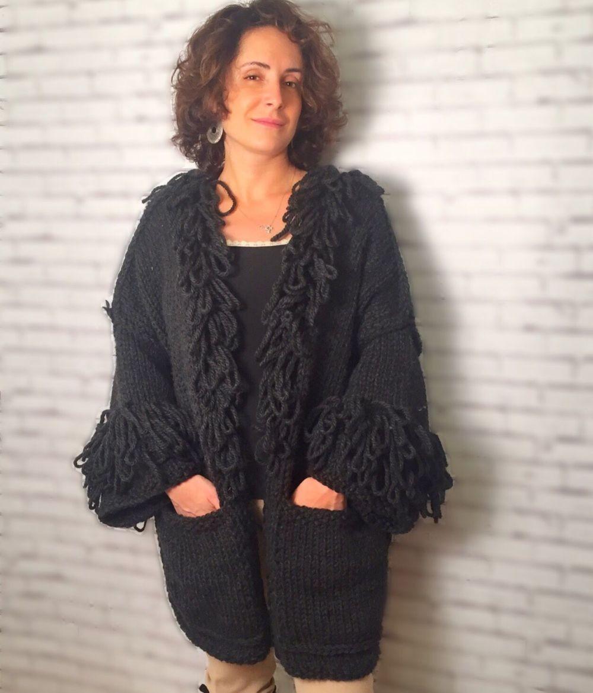 Вязаное пальто осень зима 2018 2019 теплое пальто ручной работы,с карманами и широкими рукавами