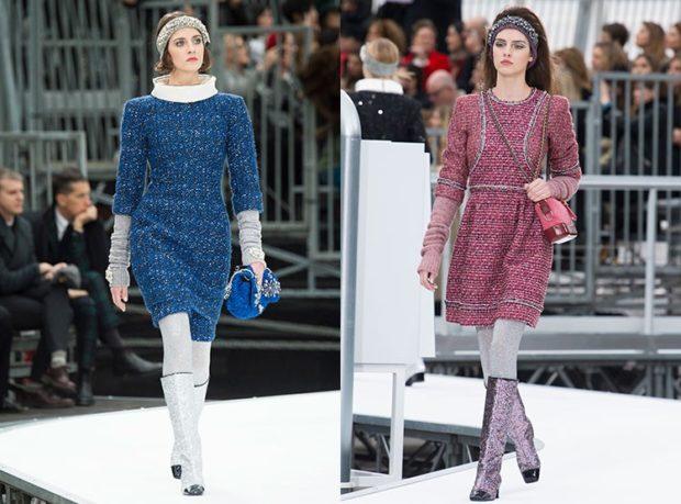 Вязаная мода осень зима 2018 2019: вязаные платья синие, красные, креативный рукав , платья с горловиной и без