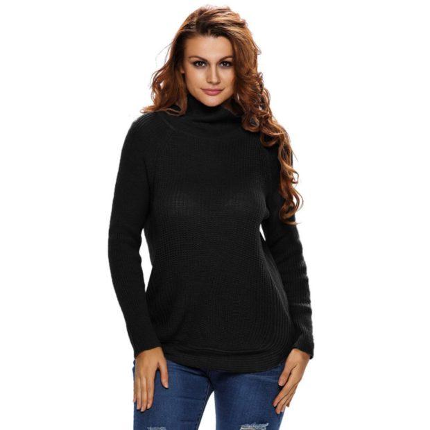 Вязаные свитера осень зима 2018 2019 вязаные свитера, теплый зимний свитер,черного цвета