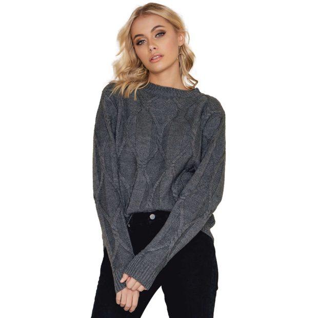 Вязаные свитера осень зима 2018 2019 вязаные свитера, с узором,без воротника,серого цвета