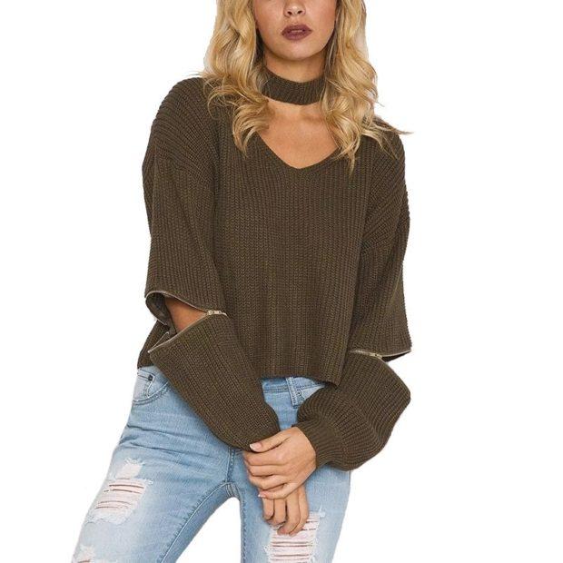 Вязаные свитера осень зима 2018 2019 вязаный свитер, с регулировкой рукавов, полная длина или длина три четверти, на застежке, коричневого цвета,без горловины