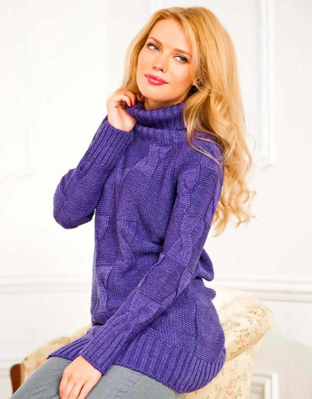 Вязаные свитера осень зима 2019 2020 платья,теплое с узором, с высокой горловиной,и длинным рукавом,сиреневого цвета