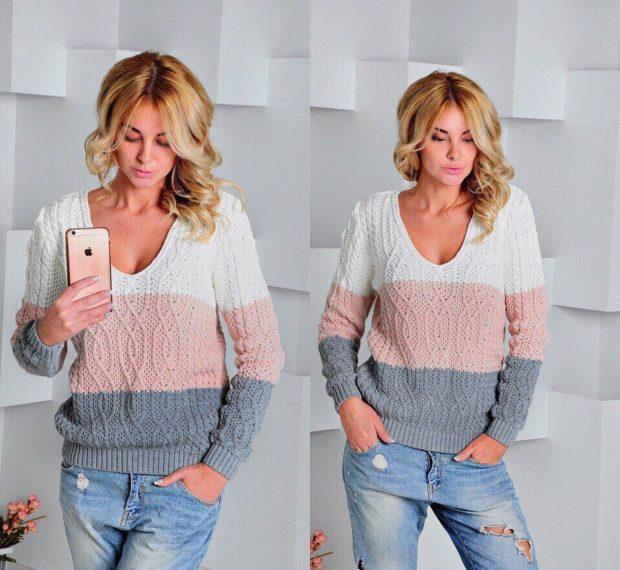 Вязаные свитера осень зима 2018 2019 вязаный свитер в полоску