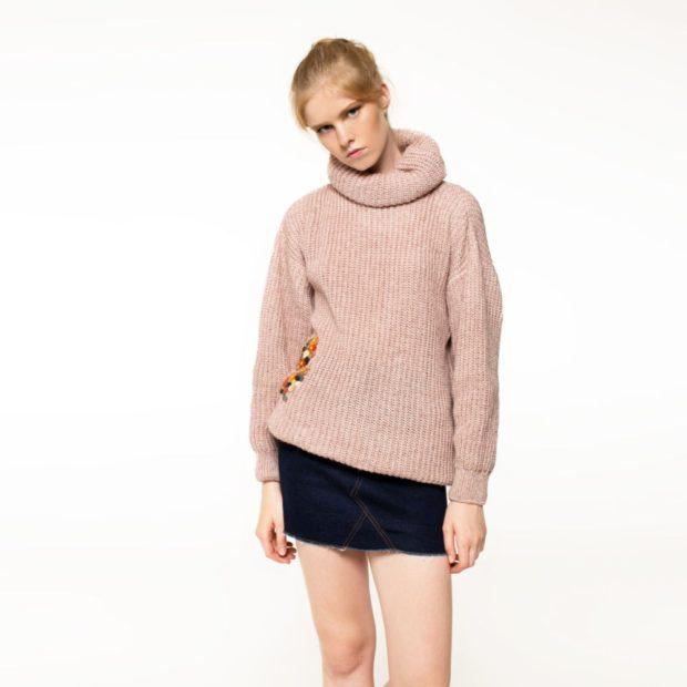 Вязаные свитера осень зима 2018 2019 вязаный свитер с большой горловиной, коричневый