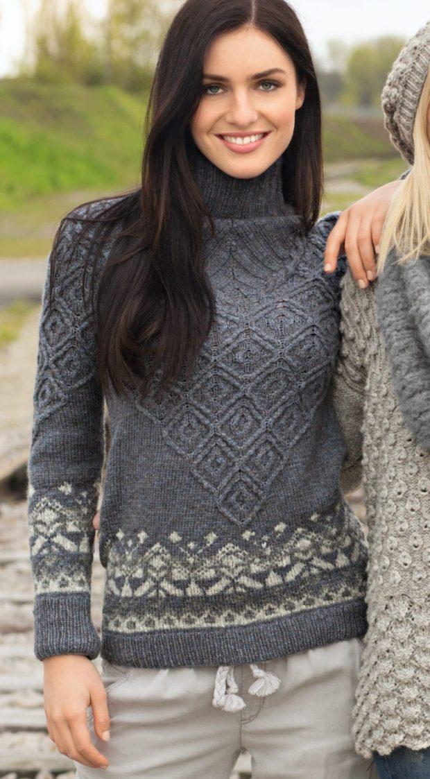 Вязаные свитера осень зима 2019 2020 вязаный свитер с узором серого цвета