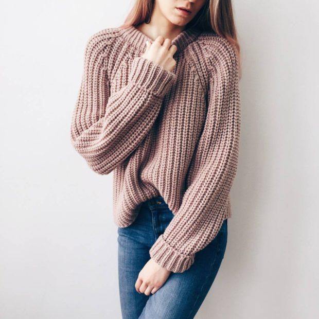 Вязаные свитера осень зима 2018 2019 вязаный свитер,крупная вязка,без горловины,коричневого цвета