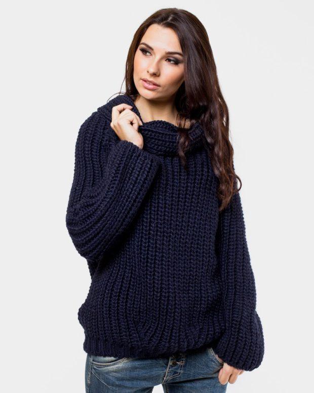 Вязаные свитера осень зима 2019 2020 вязаный свитер, большой воротник,синий свитер