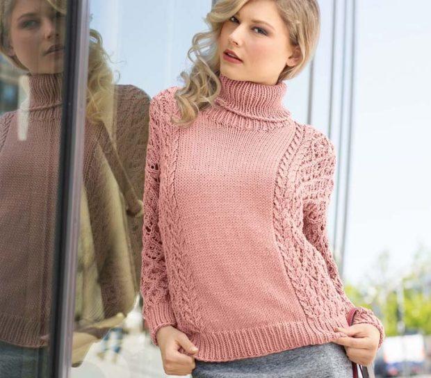 Вязаные свитера осень зима 2018 2019 вязаный свитер,с узором,воротник под горло