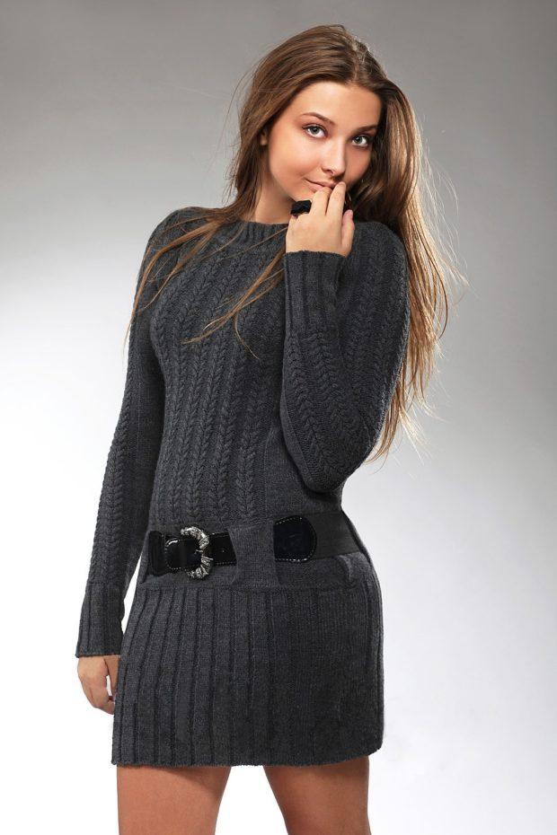 Вязаные платья осень зима 2019 2020 вязаное с узором,черное