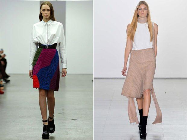 Вязаные юбки осень зима 2018 2019 вязаные юбки,крупная вязка,с узорами многоцветная , с ремнем