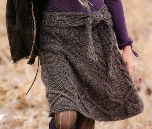 Вязаные юбки осень зима 2018 2019 вязаные юбки,крупная вязка,с узорами,серого цвета,с ремешком