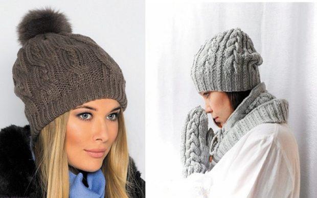 Вязаные шапки осень зима 2018 2019 вязаная шапка,крупная вязка с узором коричневая и серая