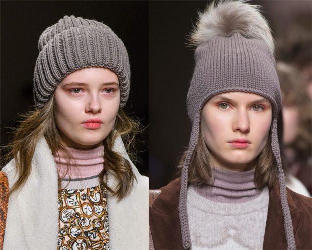 Вязаные шапки осень зима 2019 2020 шапки крупная и средняя вязка с подворотом, или бубоном
