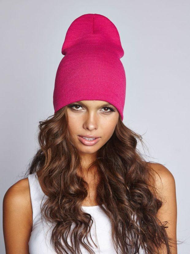 Вязаные шапки осень зима 2019 2020 шапки, шапка длинная,мелкая вязка,розовая