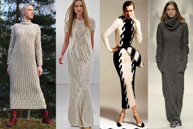 Вязаные платья осень зима 2018 2019 вязанные платья макси, серые ,темно серые , черно-белое,с высоким горлом и без