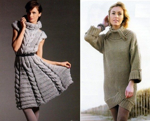 Вязаные платья осень зима 2018 2019 вязанные платья, с узором и высоким горлом