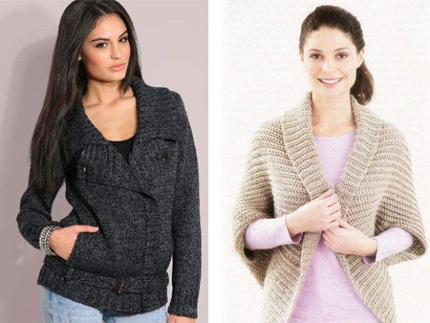 Вязаная мода осень зима 2018 2019 стильные свитера длинный рукав и рукав три четверти, в серо-черных и бежевых цветах