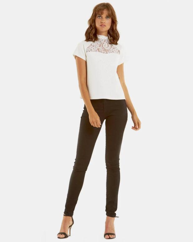 белая блузка: кружево короткий рукав под джинсы