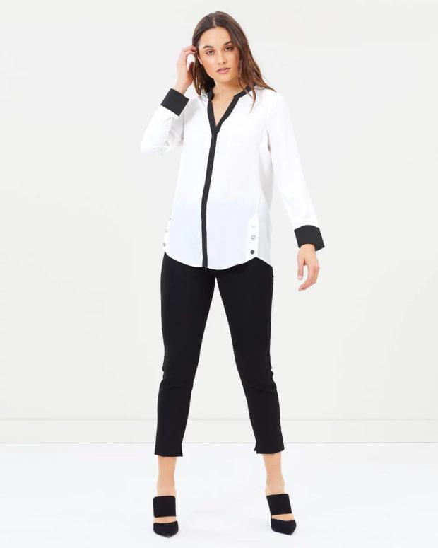 белая блузка: с черными вставками длинный рукав