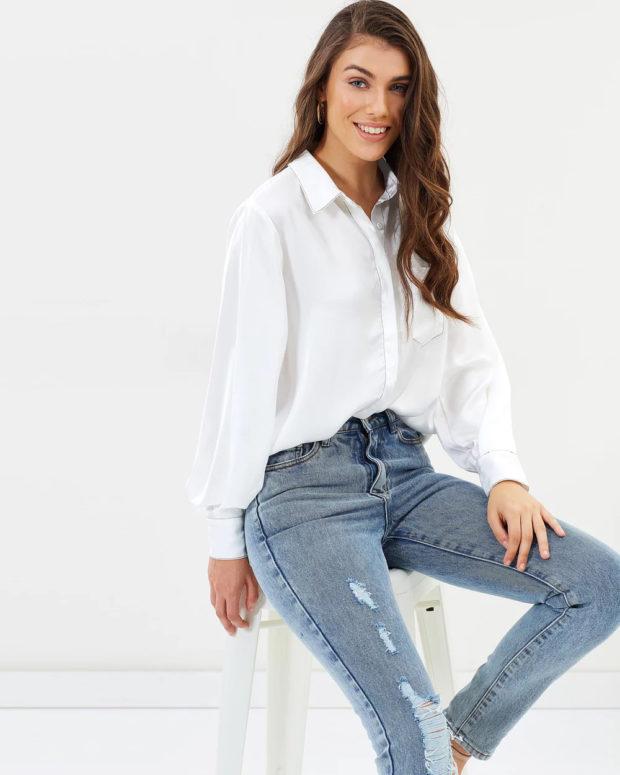 белая блузка: рубашка под джинсы