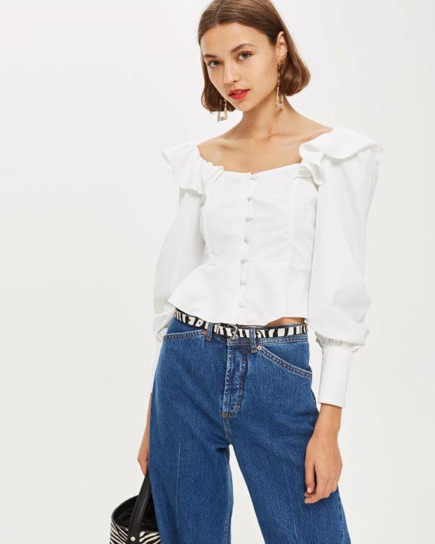 белая блузка: пышные рукава под джинсы
