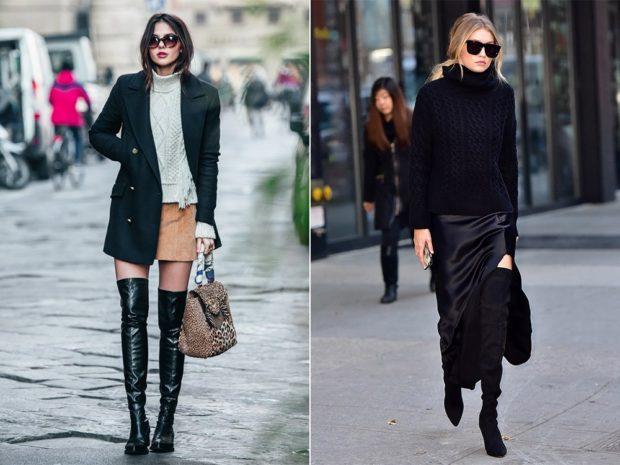 с чем носить ботфорты зимой под короткую юбку под юбку макси