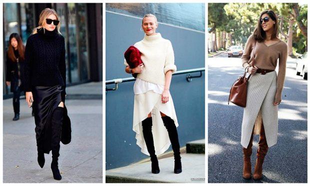 ботфорты с чем носить на каблуке под длинные юбки