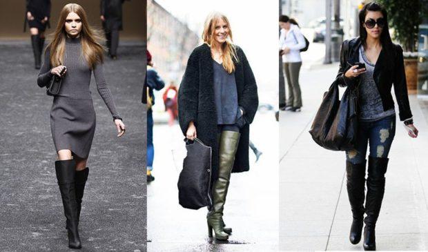 ботфорты с чем носить по платье пальто под джинсы