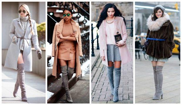 ботфорты с чем носить зимой под пальто серое коричневое розовое черное с мехом