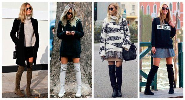 ботфорты с чем носить зимой под платья юбки