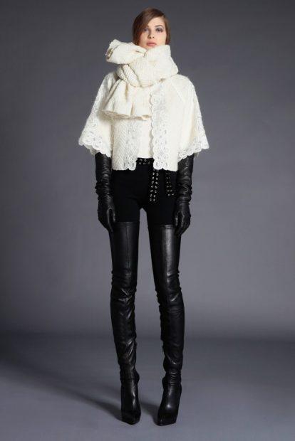 ботфорты с чем носить зимой под лосины кожаные