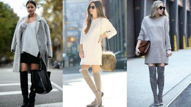 ботфорты с чем носить зимой под юбку под вязанное платье в цвет