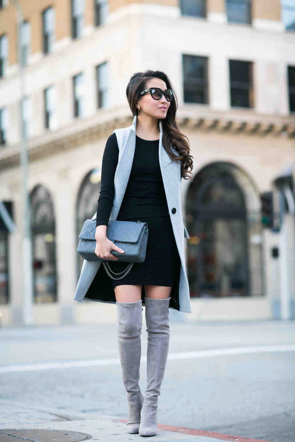 с чем носить ботфорты зимой замшевые