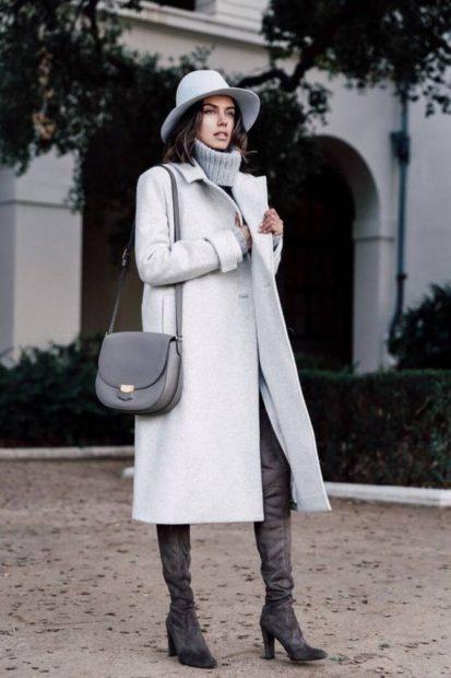 с чем носить ботфорты зима замшевые
